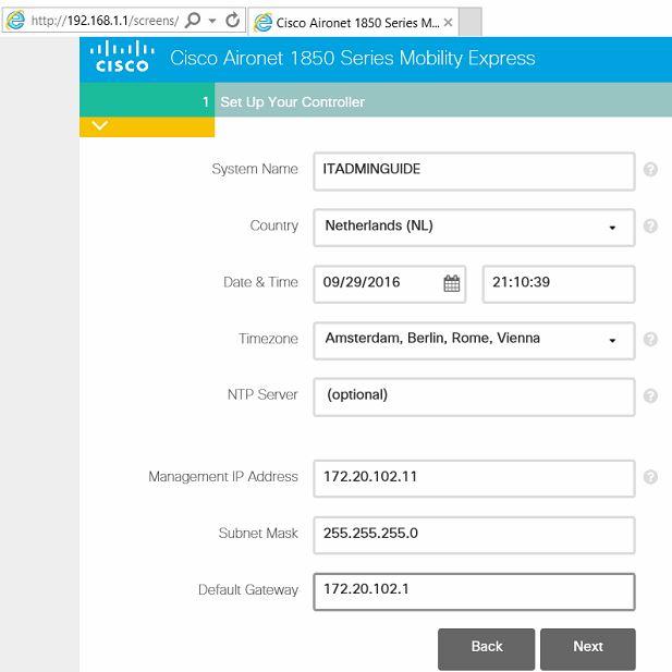 Configure Cisco 1850 series Mobility Express - ITAdminGuide com